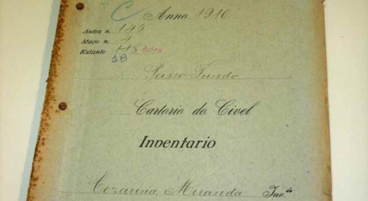 Imagem: Inventário de Cezarina recupera origem do território / Crédito: Arquivo Incra/RS